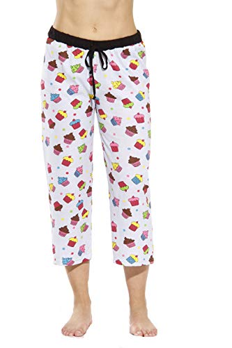 6331-10008-S Just Love Women Pajama Capri Pants / Sleepwear, Cupcake Dots - Grey, Small