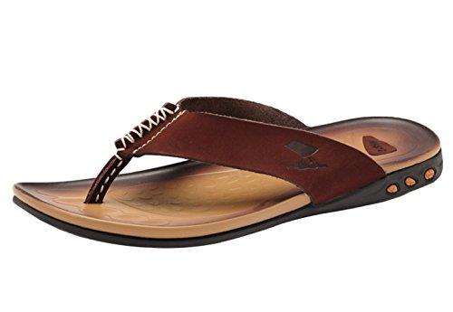 Coffee Mens DQQ DQQ Beach Flop Flip Mens Thong Leather Sandal axzwEZqH