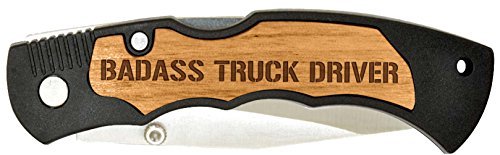 Father's Day Gift for Dad Badass Truck Driver Laser Engraved Stainless Steel Folding Pocket Knife
