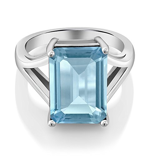 Gem Stone King Sterling Silver Sky Blue Topaz Women s Solitaire Ring 8.70 cttw Gemstone Birthstone 14X10MM Emerald Cut Available 5,6,7,8,9