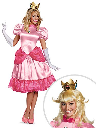 Super Mario Bros Princess Peach Costume Kit Deluxe Adult Large with Wig