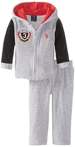U.S. Polo Assn. Baby-Boys Newborn Velour Hooded Jacket and Pant Set, Light Heather Gray, 3-6 Months
