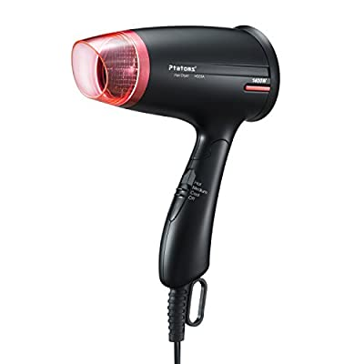 Hair Dryer, Ptatoms Compact Folding Handle Ionic Blow Dryer Styler With 3 Heat Settings,Red