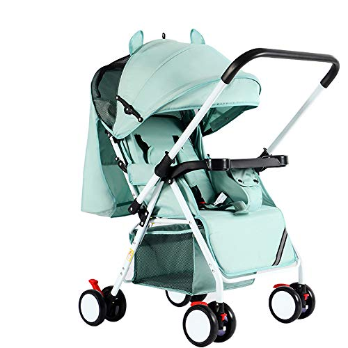 C+Q Lightweight Travel Baby Stroller Pram, Compact Convertible Luxury Pushchair Baby Carriage, Oversized Storage Basket, Blanket Boot, for Newborn and Toddler,1