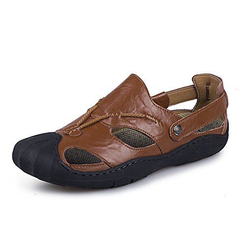 Sandals Shoes Casual Men's Beach Brown Breathable Round Leather QXH Head gqH5xBTw