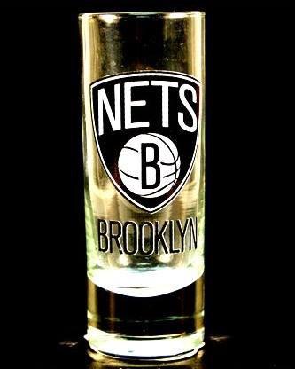 Brooklyn Nets NBA Licensed Glass Cordial Logo Hype Shot Glass (2 Oz.) Team Logo