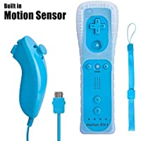 Wii Remote Controller with Built in Motion Plus and Nunchuk,WaterBlue, 1 Pack, Compatible for Nintendo Wii, Wii U