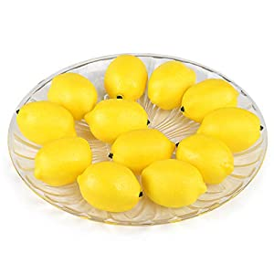 Kesoto 12pcs Fake Fruit Lemons Artificial Lifelike Simulation Lemon Artificial Fruit Decorations for Still Life Paintings, Storefront, Kitchen Decor, Yellow, 2.8 x 2 Inches 23