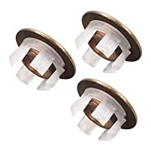 uxcell Sink Overflow Covers Kitchen Basin Trim Round Hole Caps Insert Spares Bronze Tone 3 Pcs