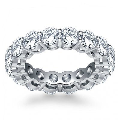 5.00 ct Ladies Round Cut Diamond Eternity Wedding Band in Platinum In Size 7
