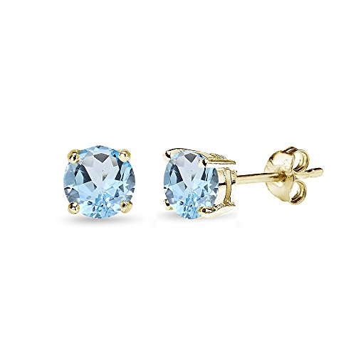Yellow Gold Flashed Sterling Silver Blue Topaz 5mm Round-Cut Solitaire Stud Earrings