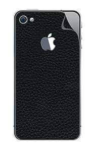 iStar Leathercraft - Pegatina de cuero granulado para parte trasera y protector de pantalla para iPhone 4