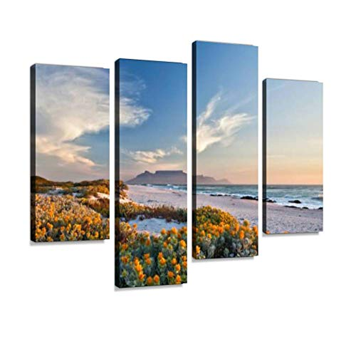 Scenic View of Table Mountain Cape Town South Africa from Canvas Wall Art Hanging Paintings Modern Artwork Abstract Picture Prints Home Decoration Gift Unique Designed Framed 4 Panel