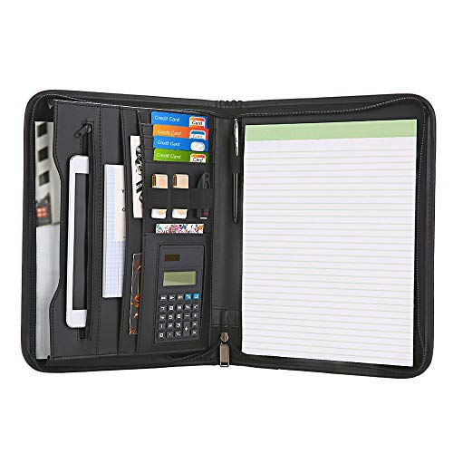 (Garcent Zippered Padfolio with Calculator, Black PU Leather Portfolio Organizer, Professional Interview Resume Business for Men Women, Interior 10.1 Inch Table Sleeve)