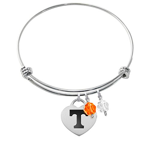 Tennessee Volunteers Stainless Steel Adjustable Bangle Bracelet with Heart Charm & Crystal Accents - Enamel Tennessee Volunteers Charm