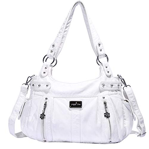 Angelkiss Design Handbags Womens Purse Feel Soft Lether Multiple Top Zipper Pockets Shoulder Bags Large ... ()
