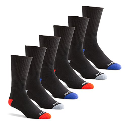 Prince Men's Crew Performance Athletic Socks for Running, Tennis and Casual Use (6 Pair Pack) (Men's Shoe Size 12-16 (US), Black) (Socks Prince)