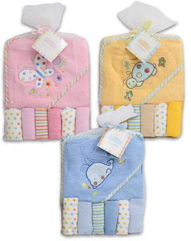 Baby Bath Towel Hooded with 6 Washcloths 48 pcs sku# 1266011MA by DDI