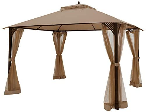Tangkula 12 X 10FT Patio Gazebo, Heavy Duty Gazebo Canopy Shelter w Sturdy Metal Frame Netting Sidewalls, Air-Ventilated Canopy Party Tent w Dual-Tiered Top for Backyard Garden Lawn Brown