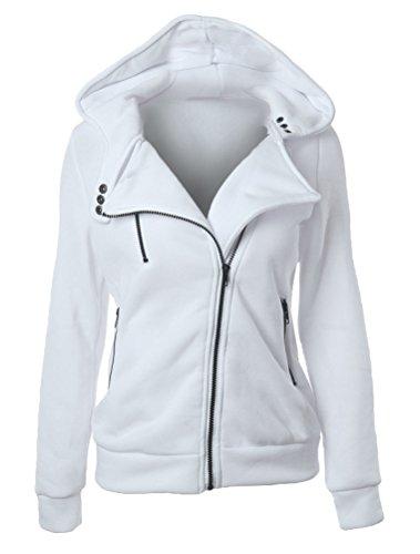 Manica Colore Outerwear Donna Bianca Sweatshirt Autunno Cappuccio Vogstyle Felpa Solido Lunga Con Cappotto Di wRXPwa8