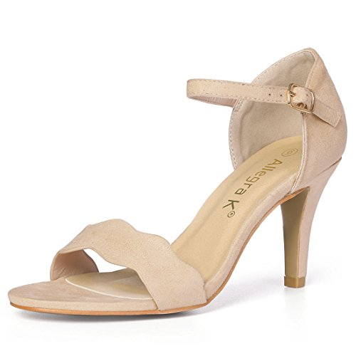 Allegra K Women's Scalloped Stiletto Beige Sandals - 11 M US