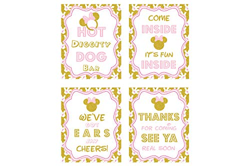 minnie mouse birthday sign 8x 10 inch Minnie Mouse Birthday Sign Printed in Cardstock | Minnie Mouse Party supplies | Minnie Mouse Clubhouse inspired Door Sign Hot Diggity Dog Bar Party Sign[glitter]]()