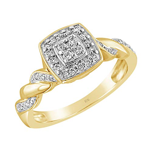 Brilliant Expressions 10K Yellow Gold 1/5 Cttw Conflict Free Diamond Cushion Cluster Halo and Twisted Shank Engagement Ring (I-J Color, I2-I3 Clarity), Size 7 ()