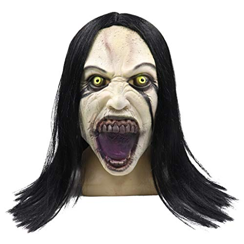 Luonita Halloween Horror Female Ghost Death Mask, Scary Horrible Wig Female Ghost Skull Mask Melting Face Adult Latex Costume Halloween Mask for Halloween Prom Ball and Costumes Party
