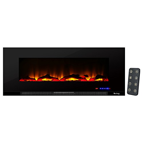 (e-Flame USA Livingston 50-inch Wall Mount Electric Fireplace (Black))