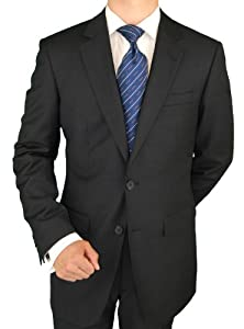 B0055DMSDE 100% Pure Wool Suit For Everyday Use 2 Button Jacket Plus Flat Front Pants Super 150'S Italian Men's Suits Charcoal Gray (46 Long)