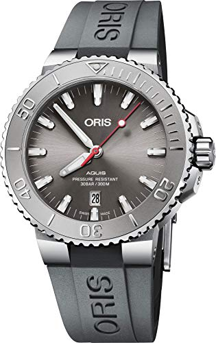 Oris Diving Mens Automatic Date Wrist Watch Analog 43.50 mm Round Grey Dial with Sapphire Crystal and Grey Rubber Band 300m Water Resistant Business Genuine Luxury Watches – for Men