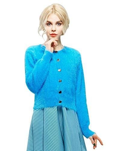 Elf Sack Womens' Spring Cardigan Long Sleeve Mohair Large Size Blue