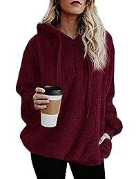 Women's Oversized Sherpa Long Sleeve Pullover Zip Sweatshirt Fleece Hoodies with Pockets