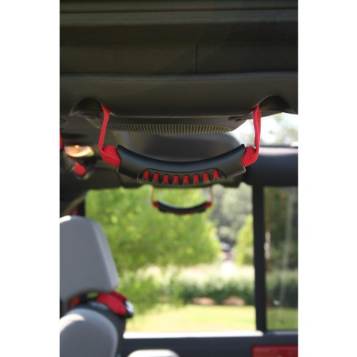 Rugged Ridge 13305.15 Red Windshield Pillar Rear Side Grab Handle - Pair (2011 Grab Handle)