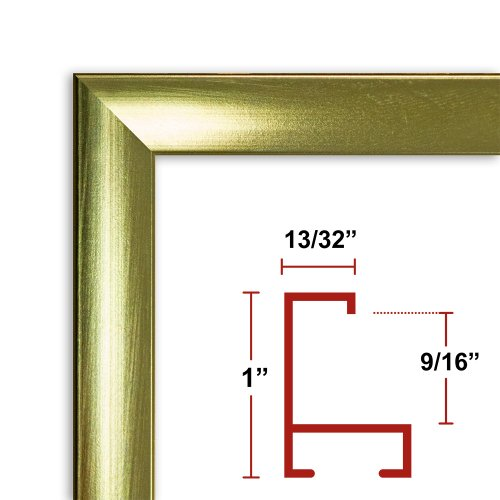 27 x 54 Shiny Gold Poster Frame - Profile: #93 Custom Size Picture Frame by Poster Frame Depot