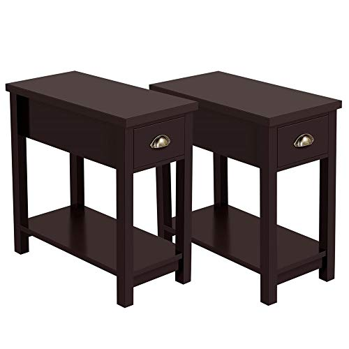 Yaheetech Chairside End Table Narrow Nightstand - One Drawer Storage Cabinet Bedside Table with Solid Pine Wood Legs and Waterproof Surface, Set of 2, Espresso (With Table Drawer Pine End)