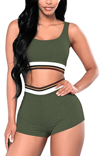 VamJump Womens Knit Cropped Tank Top with High Waist Shorts Two Piece Set Army (Cropped Activewear Set)