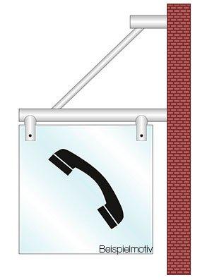 Fahnenschild Hinweisschild Wegweiser Sanit/är Schild 2 ESG-Glas 180x180 mm Edelstahlhalterung Wandmontage