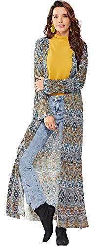 Top Cárdigan Coat Blusa Tribal Duster Capa Étnico Long Africano Maxi Geométrico Manga Trench Larga Aberturas Camisa Amarillo Laterales Abrigo Azteca Blusón Barroco Largo w76w1n8xU
