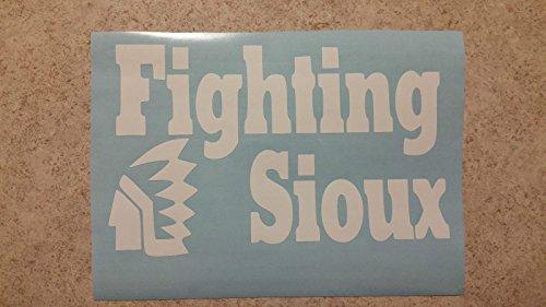 Und Fighting Sioux 5''x8'' Bumper Sticker, Wall, Window Decals (white) (Sioux Window Decal compare prices)