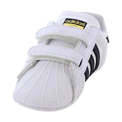 adidas Originals Baby Superstar Crib Sneaker, White/Black/White, 3 M US Infant (Adidas Baby Girl Infant)