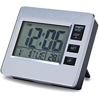 Digital Magnetic Desk Clock Refrigerator Hood Kitchen Timer 12/24 Hour Alarm Date Week Indoor Thermometer Magnet LCD Backlight Clock Battery Operated Mute Hang on Wall Clock Table Room Office Senior