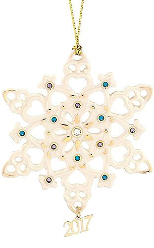 Lenox 2017 Annual Gemmed Snowflake Ornament Blue Crystals Gold Christmas by Lenox
