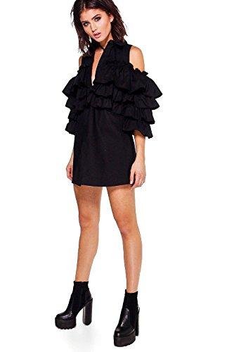 Schwarz Damen Harmony Tiered Ruffle Shirt Dress Schwarz CMkGA