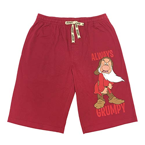 Disney Snow White and The Seven Dwarfs Grumpy Lounge Shorts for Men, Red, (Medium)