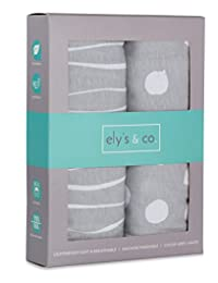 Pack n Play Sheet | Mini Crib Sheet Set 2 Pack Grey and White Abstract Stripes and Dots by Ely's & Co BOBEBE Online Baby Store From New York to Miami and Los Angeles