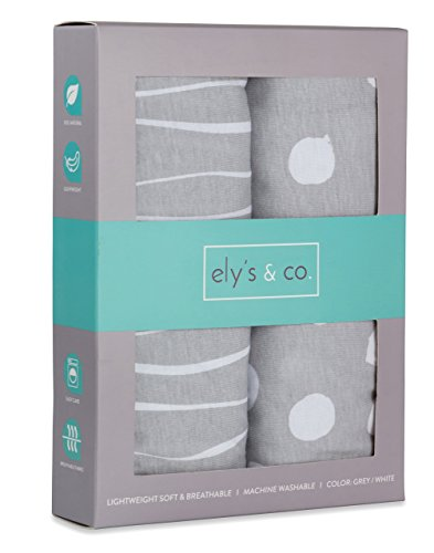 Pack n Play Sheet | Mini Crib Sheet Set 2 Pack Grey and White Abstract Stripes and Dots by Ely's & Co ()