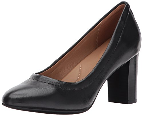 CLARKS Women's Chryssa Ari Dress Pump, Black Leather, 7 M US