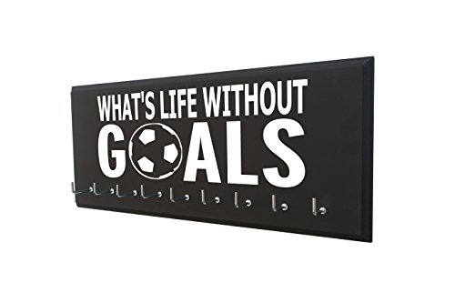 Running On The Wall Soccer Medal Holder - Whats Life Without Goals - Display All Awards, Medals, Ribbons Trophy Soccer Player Soccer Coach - Soccer Gift