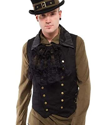 Men's Steampunk Vests, Waistcoats, Corsets Altissimo Mens Double-Breasted Vest Waistcoat Brass Poppers & Chain. Sizes S-2XL $45.00 AT vintagedancer.com
